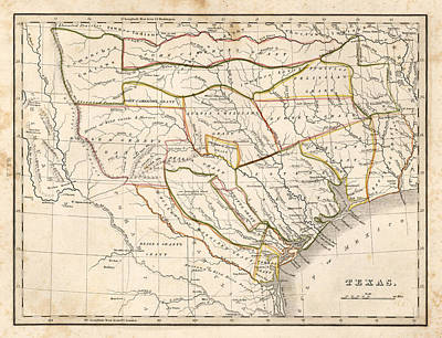 Dallas Drawing - 1835 Texas Map by Dan Sproul