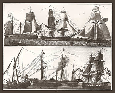 Steam Ships Painting - 1850 European Sailing Ship by Unknown