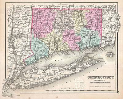 Old Map Painting - 1857 Colton Map Of Connecticut And Long Island by Celestial Images