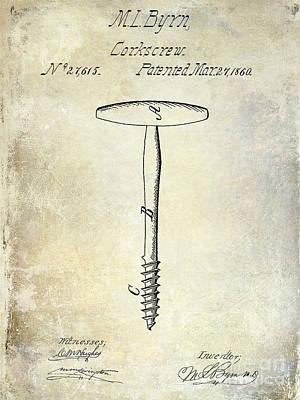 1860 Corkscrew Patent Print by Jon Neidert