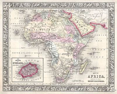 Africa Painting - 1864 Map Of Africa by Celestial Images