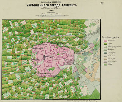 Old Map Painting - 1865 Birdview Map Of Taskent Uzbekistan by Celestial Images
