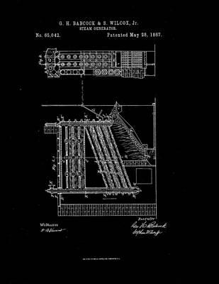 1867 Steam Generator Patent Drawing Print by Steve Kearns