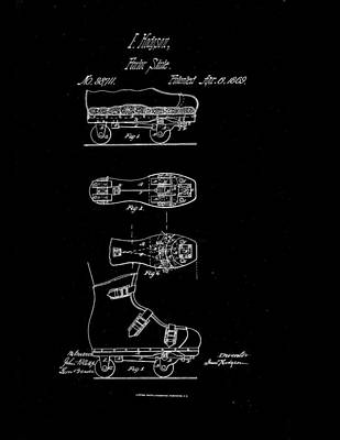 1869 Parlor Skate Patent Drawing Print by Steve Kearns