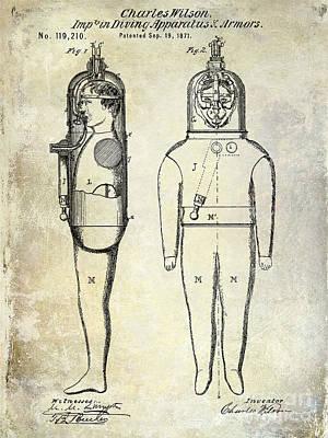 1871 Divers Suit Patent  Print by Jon Neidert