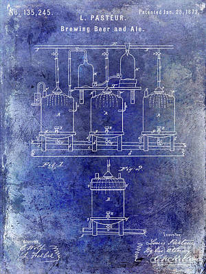 1873 Beer Patent Blue Print by Jon Neidert