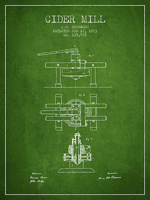 Hard Drawing - 1873 Cider Mill Patent - Green by Aged Pixel