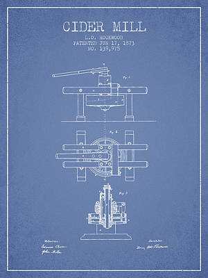 Hard Drawing - 1873 Cider Mill Patent - Light Blue by Aged Pixel