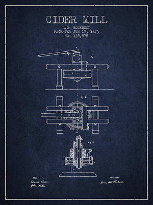 Hard Drawing - 1873 Cider Mill Patent - Navy Blue by Aged Pixel
