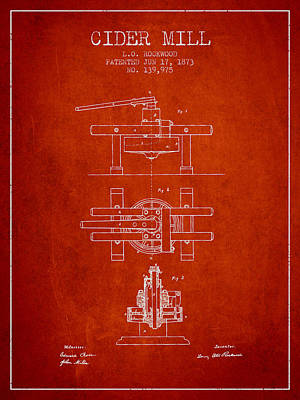 Hard Drawing - 1873 Cider Mill Patent - Red by Aged Pixel
