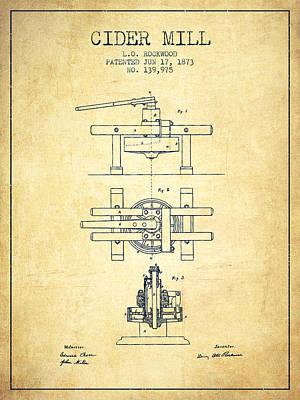 Hard Drawing - 1873 Cider Mill Patent - Vintage by Aged Pixel