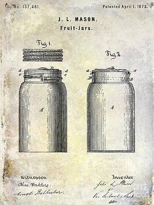 Mason Jars Photograph - 1873 Mason Jar Patent by Jon Neidert