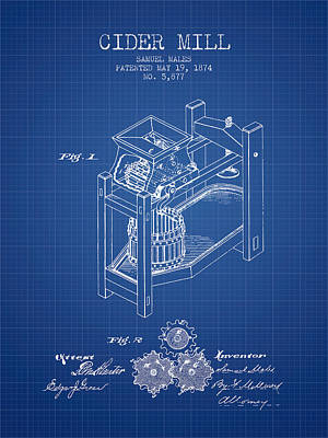 Hard Drawing - 1874 Cider Mill Patent - Blueprint 02 by Aged Pixel