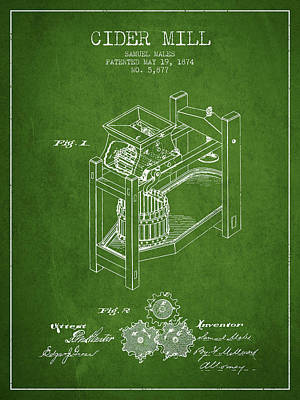 Hard Drawing - 1874 Cider Mill Patent - Green 02 by Aged Pixel