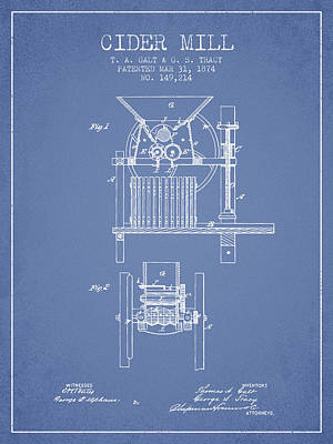 Hard Drawing - 1874 Cider Mill Patent - Light Blue by Aged Pixel