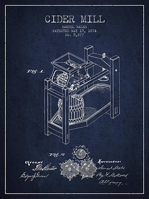 Hard Drawing - 1874 Cider Mill Patent - Navy Blue 02 by Aged Pixel