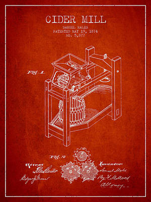 Hard Drawing - 1874 Cider Mill Patent - Red 02 by Aged Pixel