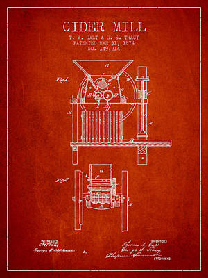 Hard Drawing - 1874 Cider Mill Patent - Red by Aged Pixel