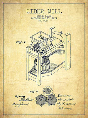 Hard Drawing - 1874 Cider Mill Patent - Vintage 02 by Aged Pixel