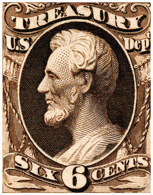 Painting - 1875 Abraham Lincoln Treasury Department Stamp by Historic Image