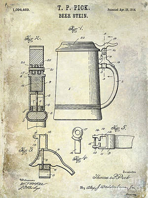 1876 Photograph - 1876 Beer Faucet Patent Drawing by Jon Neidert