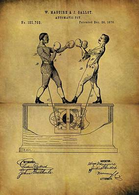 Boxer Mixed Media - 1876 Boxing Toy Patent by Dan Sproul