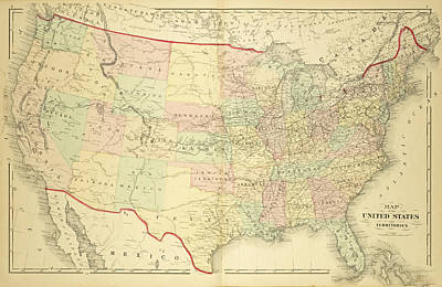 1876 Map Of The United States Color Print by Toby McGuire