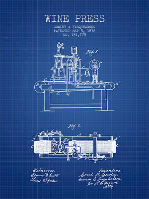 1876 Wine Press Patent - Blueprint Print by Aged Pixel
