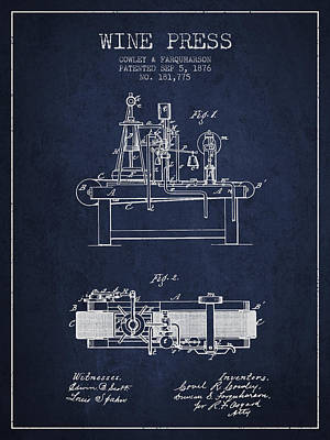 1876 Wine Press Patent - Navy Blue Print by Aged Pixel