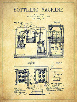 Beer Drawing - 1877 Bottling Machine Patent - Vintage by Aged Pixel