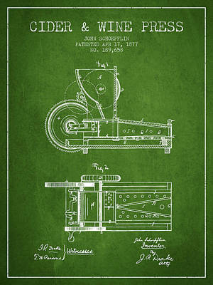 1877 Cider And Wine Press Patent - Green Print by Aged Pixel