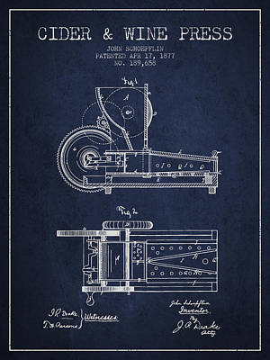 Grape Drawing - 1877 Cider And Wine Press Patent - Navy Blue by Aged Pixel