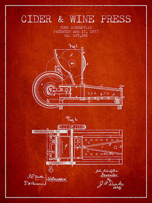 1877 Cider And Wine Press Patent - Red Print by Aged Pixel