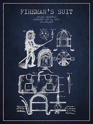 1877 Firemans Suit Patent - Navy Blue Print by Aged Pixel