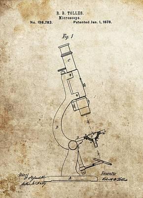 Microscopy Mixed Media - 1878 Microscope Patent by Dan Sproul