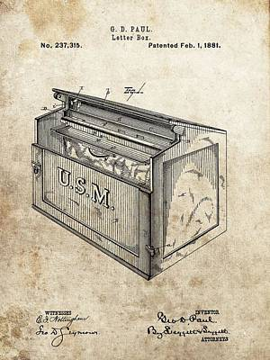 Stamps Drawing - 1881 Mailbox Patent by Dan Sproul