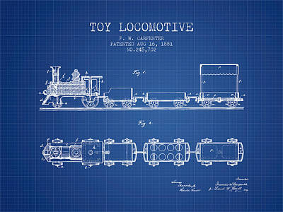 1881 Toy Locomotive Patent - Blueprint Print by Aged Pixel