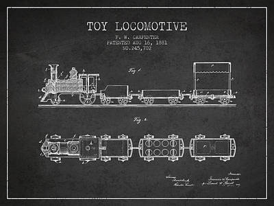Transportation Drawing - 1881 Toy Locomotive Patent - Charcoal by Aged Pixel