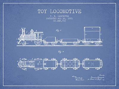 Train Drawing - 1881 Toy Locomotive Patent - Light Blue by Aged Pixel