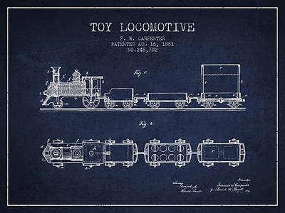 Transportation Drawing - 1881 Toy Locomotive Patent - Navy Blue by Aged Pixel