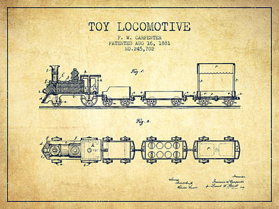 Train Drawing - 1881 Toy Locomotive Patent - Vintage by Aged Pixel