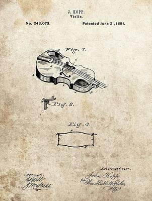Violin Mixed Media - 1881 Violin Patent by Dan Sproul