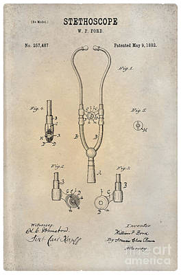 1882 Stethoscope Patent Art William Ford 1 Print by Nishanth Gopinathan