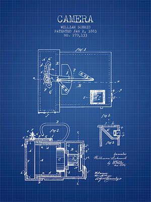 1883 Camera Patent - Blueprint Print by Aged Pixel