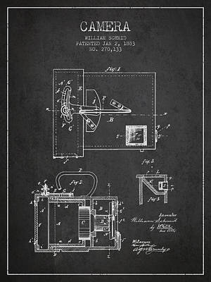 1883 Camera Patent - Charcoal Print by Aged Pixel