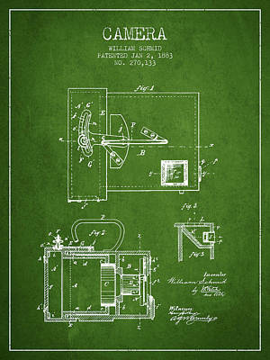 1883 Camera Patent - Green Print by Aged Pixel