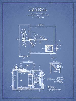 1883 Camera Patent - Light Blue Print by Aged Pixel
