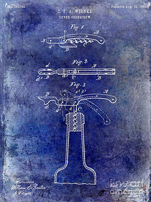 Wine Vineyard Photograph - 1883 Corkscrew Patent Blue by Jon Neidert