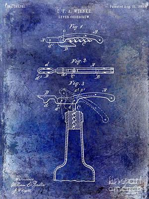 1883 Corkscrew Patent Blue Print by Jon Neidert