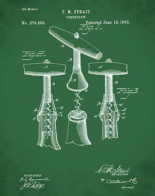 1883 Corkscrew Patent In Green Print by Bill Cannon